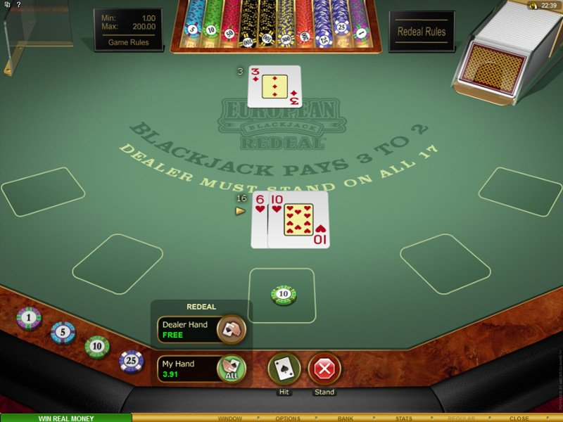 European Blackjack Redeal Gold - apercu