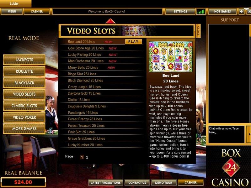 Box24 Casino - apercu de logiciel