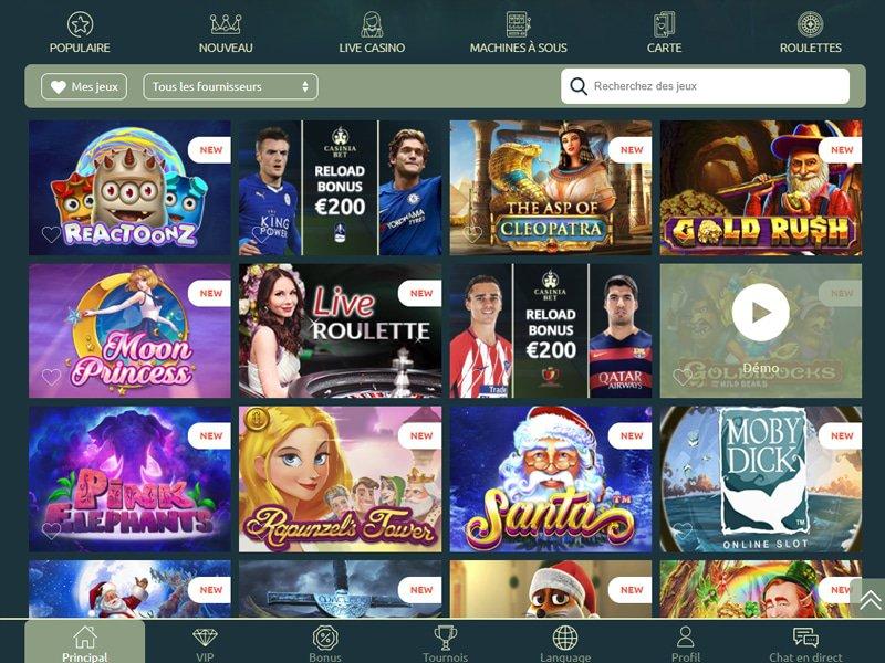 Casinia Casino - apercu de logiciel