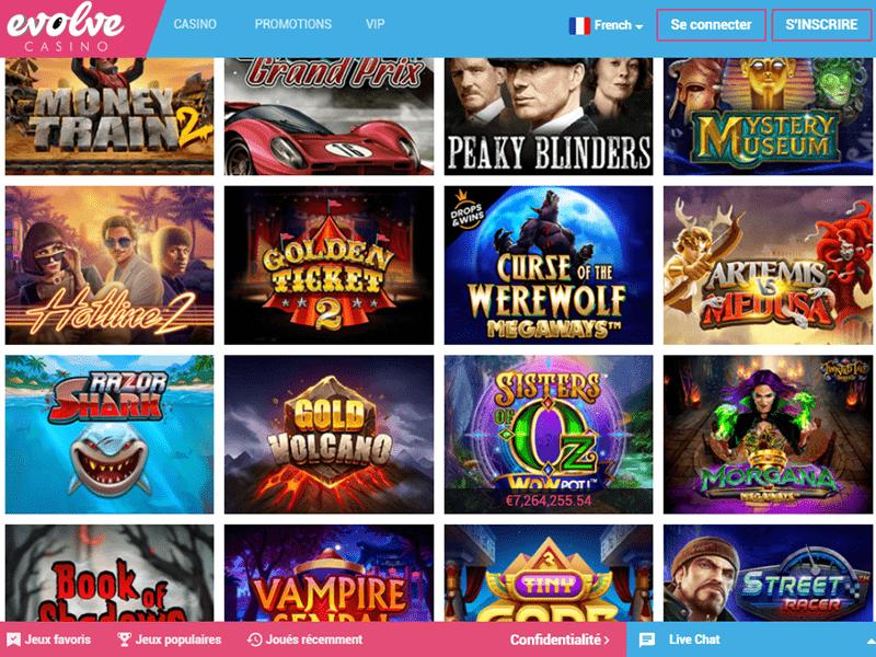 Evolve Casino - apercu de logiciel