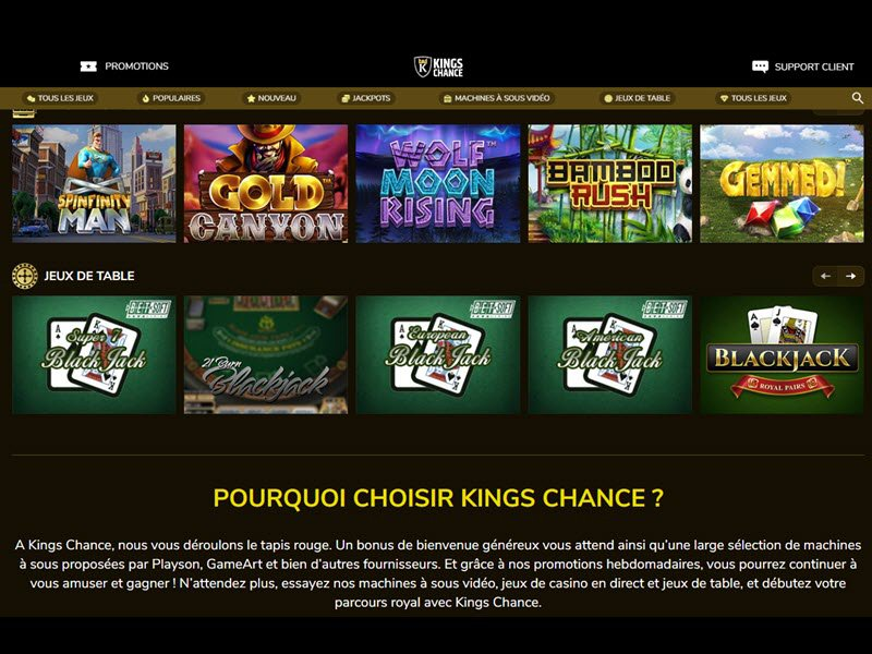 Kings Chance Casino - apercu de logiciel