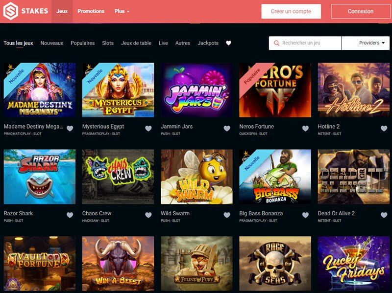 Stakes Casino - apercu de logiciel