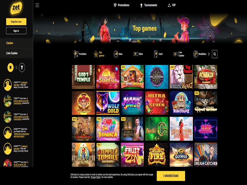 Zet Casino - apercu de logiciel