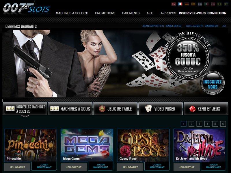 007Slots Casino - apercu de site