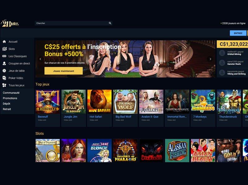 21Dukes Casino - apercu de site