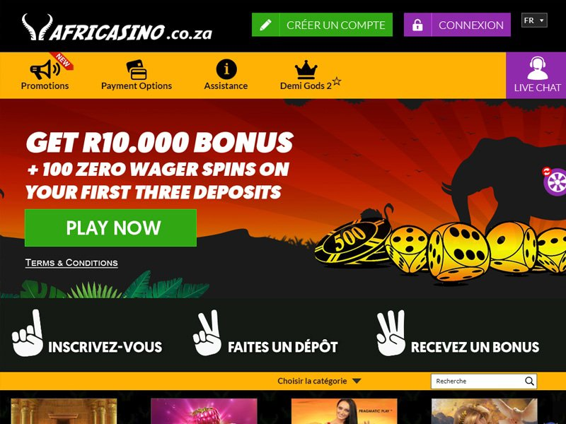 Africasino - apercu de site