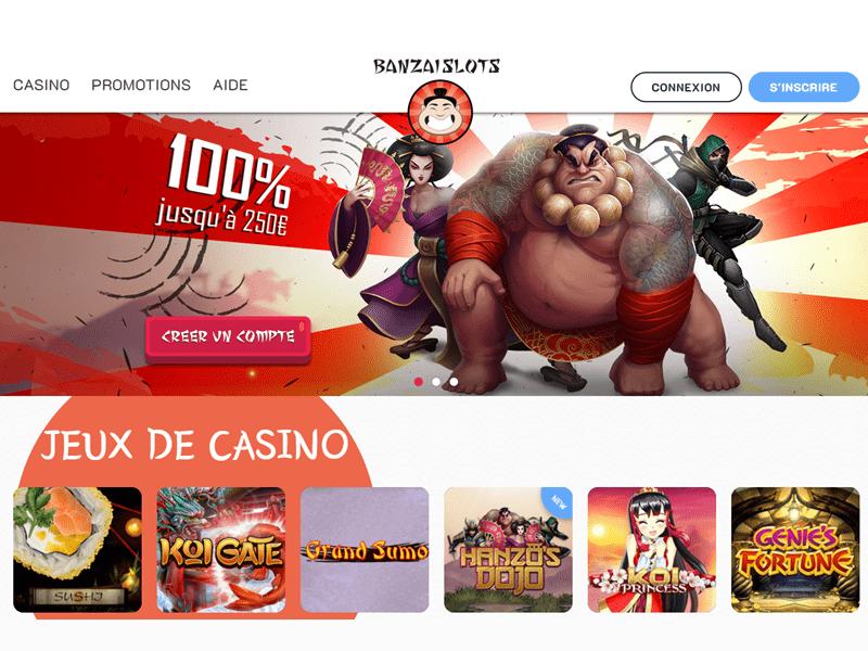 Banzai Slots - apercu de site