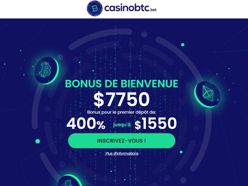 CasinoBTC - apercu de site