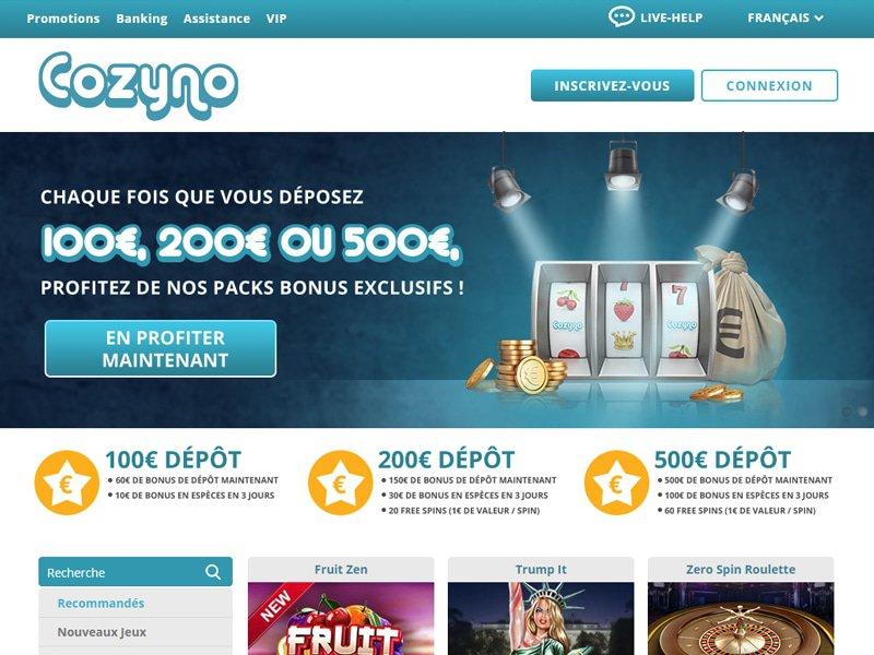 Cozyno Casino - apercu de site