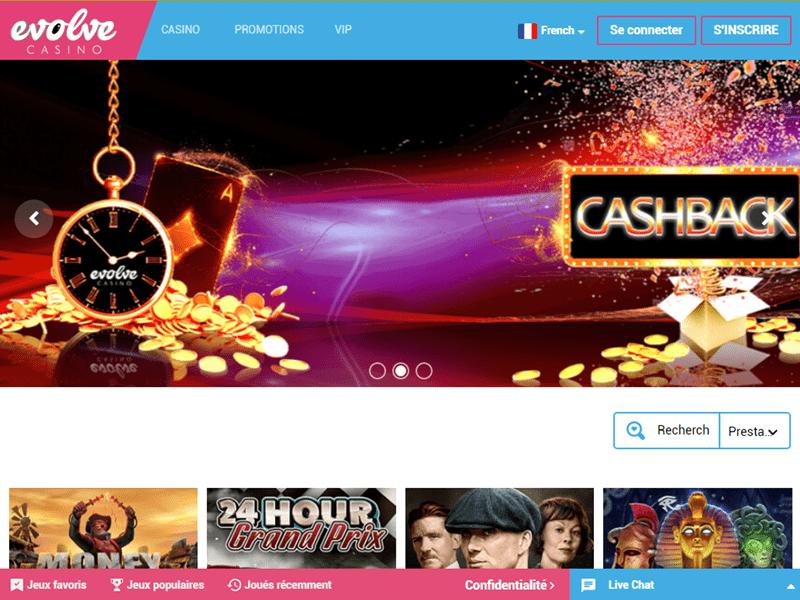 Evolve Casino - apercu de site