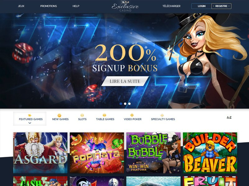 Exclusive Casino - apercu de site
