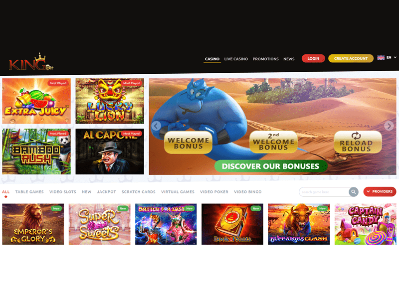 Kingbit Casino - apercu de site