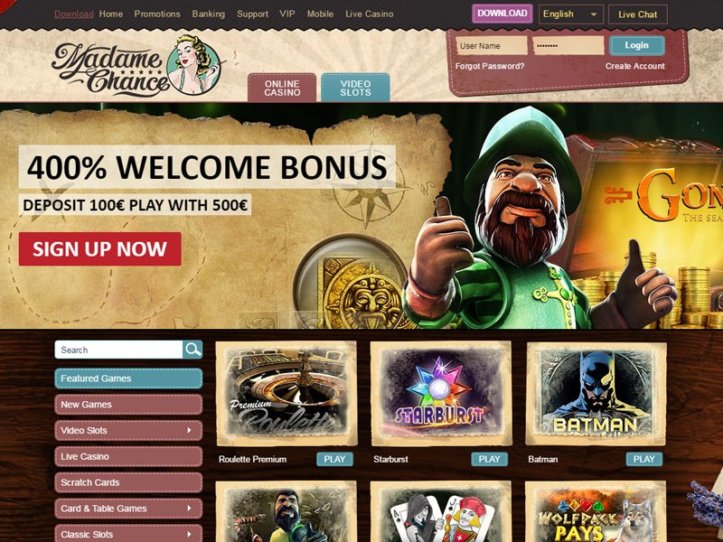Madame Chance Casino - apercu de site