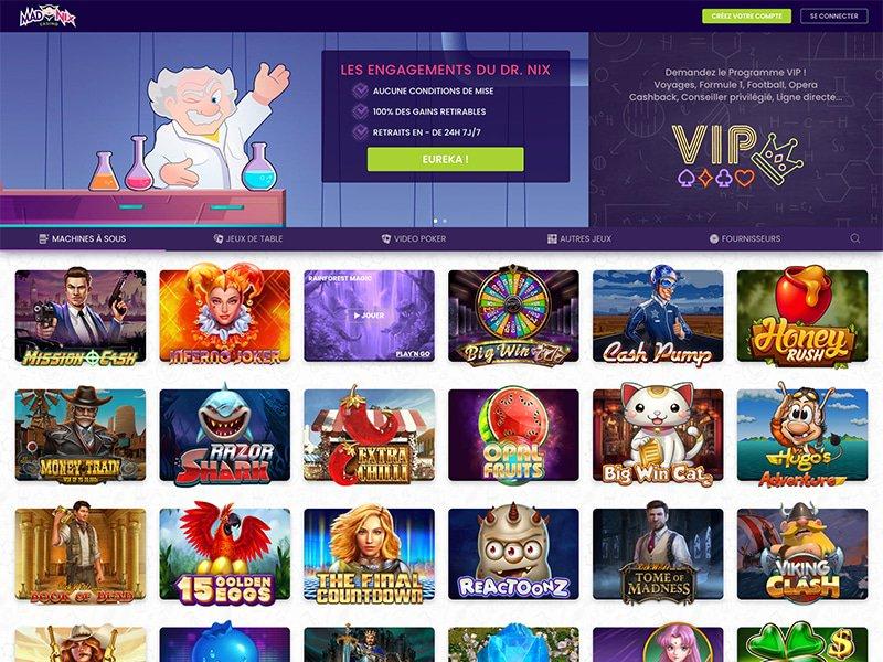 Madnix Casino - apercu de site