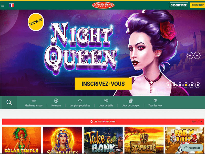 Malibu Club Casino - apercu de site