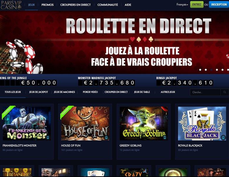 ParisVIP Casino - apercu de site