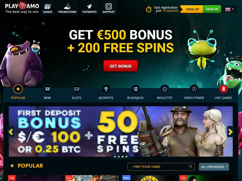 Playamo Casino - apercu de site