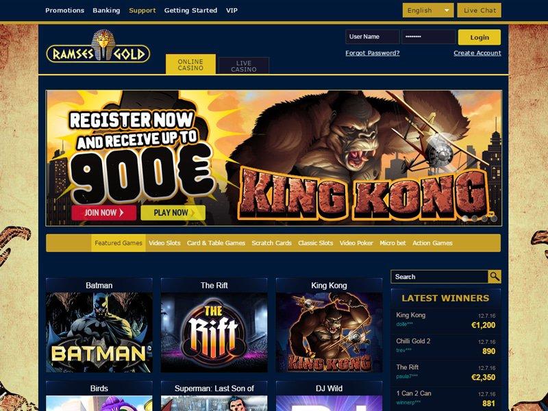 Ramses Gold Casino - apercu de site