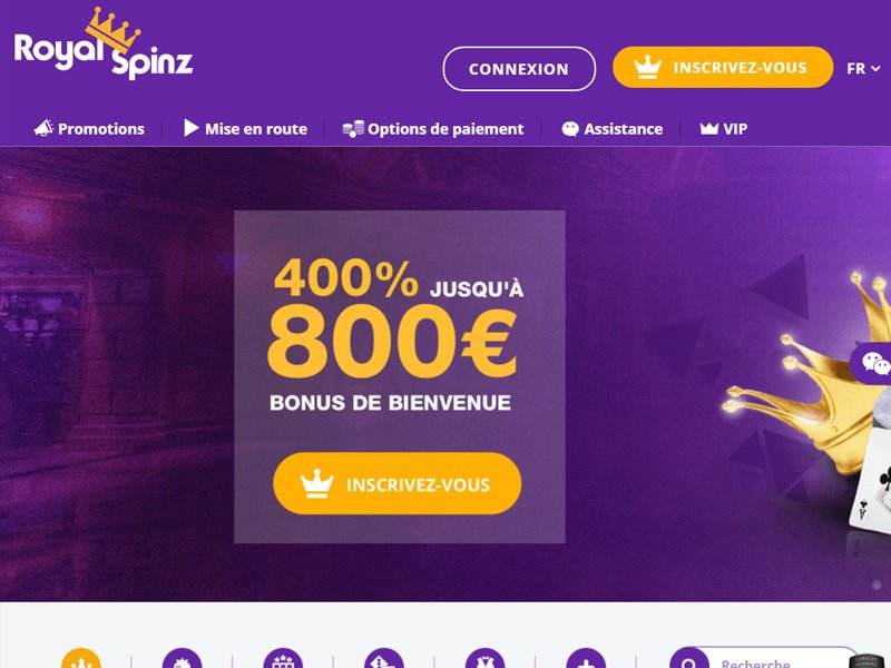 Royal Spinz - apercu de site