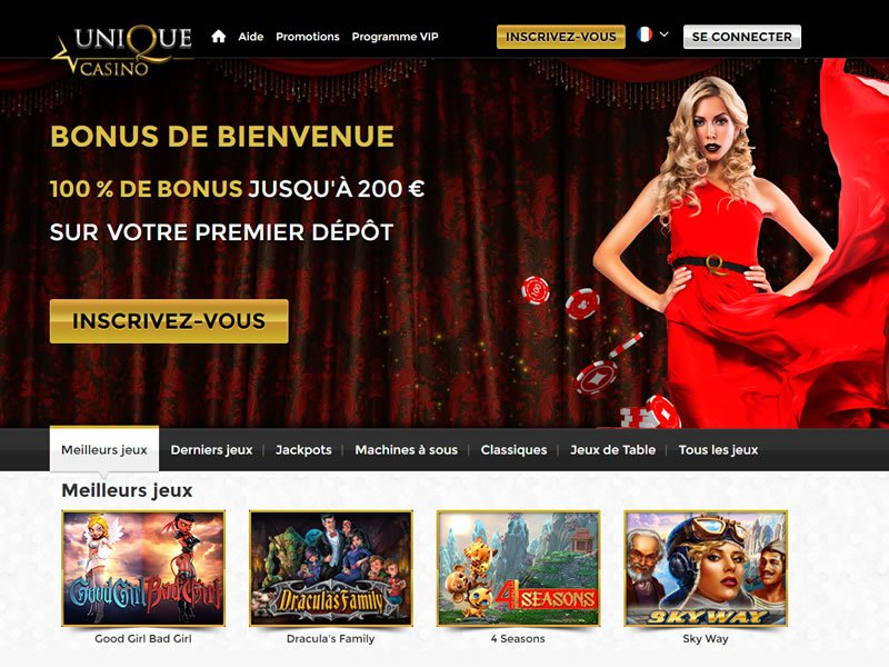 Unique Casino - apercu de site