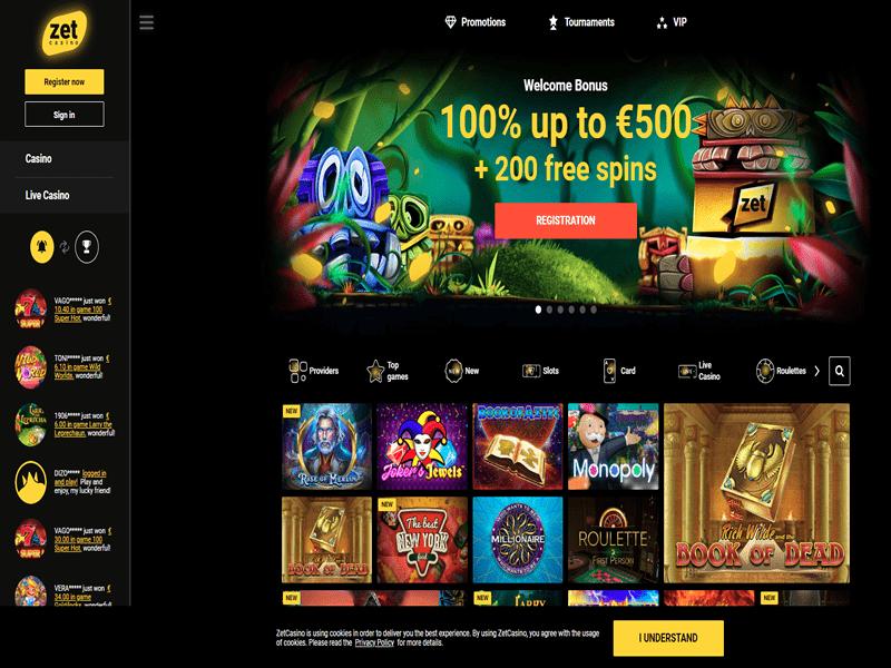 Zet Casino - apercu de site